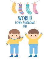 journée mondiale de la trisomie 21. enfants et chaussettes suspendues