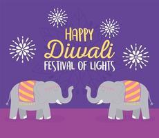 joyeux festival de diwali. carte éléphants et fleurs