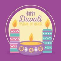 joyeux festival de diwali. lampes diya avec bougies vecteur