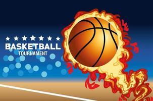 bannière de tournoi de basket-ball avec ballon en feu
