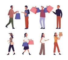 ensemble de jeunes shopping vecteur