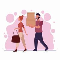 jeune couple shopping vecteur