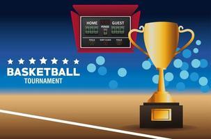 bannière de tournoi de basket-ball avec trophée
