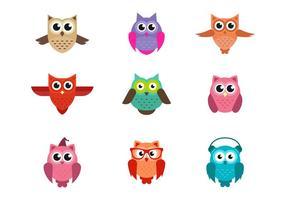 Ensemble de Mignon Owls Vector