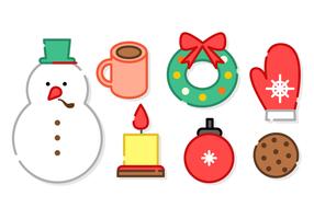 Éléments de Noël Minimaliste Vecteur