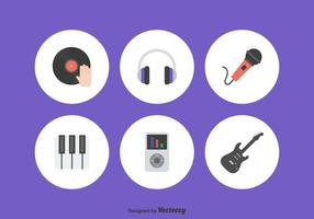 Flat Music Icons Set Vector