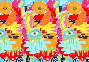 Colorful motif abstrait Doodle vecteur