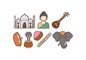 Inde Doodle Icons vecteur