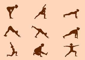 Silhouette de Yoga Pose Vecteurs vecteur