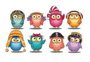 Mignon Collection Owls Cartoon vecteur