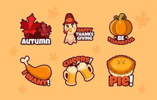 pack d'autocollants amusant pour Thanksgiving vecteur