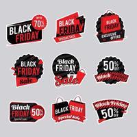 collection d'autocollants de vente vendredi noir