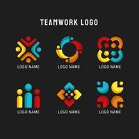 diverses collections de logo de travail d'équipe rouge bleu et jaune vecteur