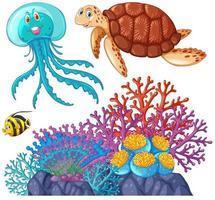 animaux marins et ensemble de récifs coralliens vecteur