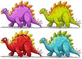 dinosaure en quatre couleurs différentes vecteur