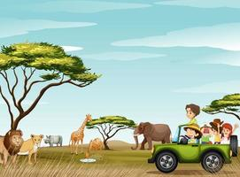 personnes en safari avec des animaux sauvages vecteur