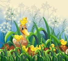 scène de jardin avec canard et canetons vecteur