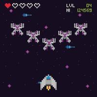 scène spatiale de jeu vidéo rétro vecteur