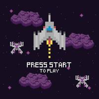 Scène d'espace de jeu vidéo avec message de démarrage vecteur