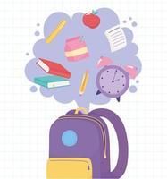 retour à l'école. sac à dos avec des objets