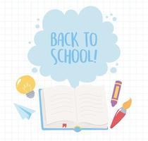 retour à l'école. livre ouvert avec des objets