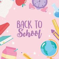 retour à l'école. globe, crayon, livres et pomme vecteur