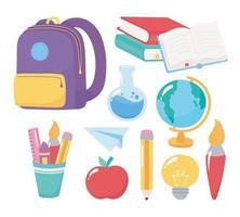 retour à l'école. ensemble de fournitures de papeterie pour l'enseignement élémentaire vecteur