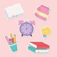retour à l'école. dessin animé de fournitures scolaires élémentaires