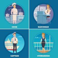 yacht, bateau, équipage, caractères, dessin animé