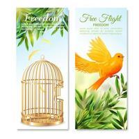 bannières verticales de cage à oiseaux canari