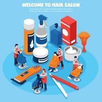 bienvenue au salon de coiffure vecteur