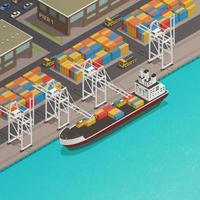 composition isométrique du port fluvial de la mer