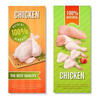 bannières verticales de viande de poulet vecteur