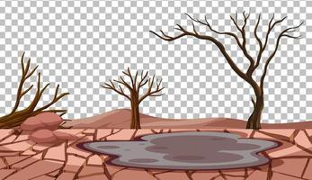 paysage fissuré sec sur fond transparent