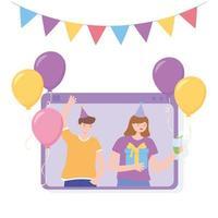 partie en ligne. appel vidéo avec des gens heureux célébrant vecteur