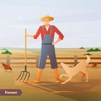 agriculteur jardinier avec râteau