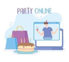 partie en ligne. homme en fête virtuelle vecteur