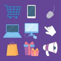 cyber lundi. ordinateur, mobile, mégaphone, sac et chariot