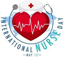 logo de la journée internationale des infirmières avec bonnet d'infirmière et grand coeur vecteur