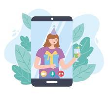 partie en ligne. fille célébrant avec un cadeau par smartphone vecteur