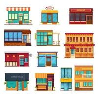 icônes plats de restaurant de restauration rapide de café de rue vecteur