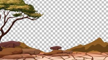 terre craquelée sèche sur fond transparent