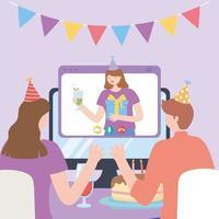 partie en ligne. couple célébrant en appel vidéo