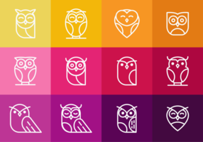 Coruja Owl Icons Outline