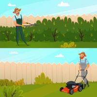bannières de travail de jardinage
