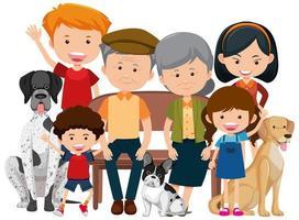 membres de la famille avec leur chien sur fond blanc