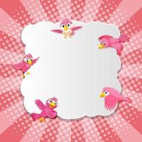 style de bande dessinée comique de bannière rose fantaisie oiseau vecteur