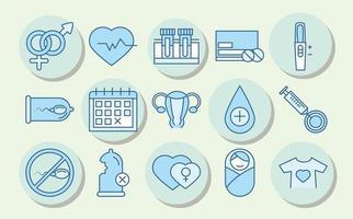 la santé sexuelle. icônes de sensibilisation à la prévention médicale