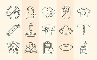 la santé sexuelle. icônes de prévention médicale de sensibilisation