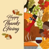 joyeux jour de Thanksgiving. dinde avec chapeau et feuilles